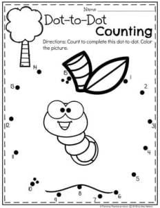 Preschool Apple Worksheets Dot to Dot Coloring Page #preschool #preschoolworksheets #appletheme #appleworksheets #planningplaytime