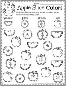 Preschool Apple Worksheets - Find and color #preschool #preschoolworksheets #appletheme #appleworksheets #planningplaytime