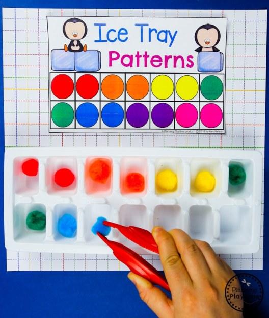 Preschool Color Games - Ice Tray Color Patterns #preschool #colorrecognition #planningplaytime