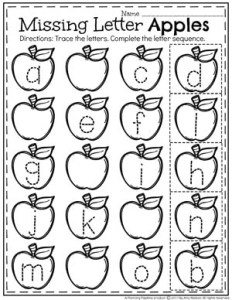 Preschool Letter Worksheets - Preschool Tracing worksheet for an apple theme #preschool #preschoolworksheets #appletheme #appleworksheets #planningplaytime #letterworksheets
