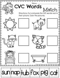 CVC Words Kindergarten Reading Worksheet #CVCwords #kindergarten #planningplaytime #kindergartenworksheets