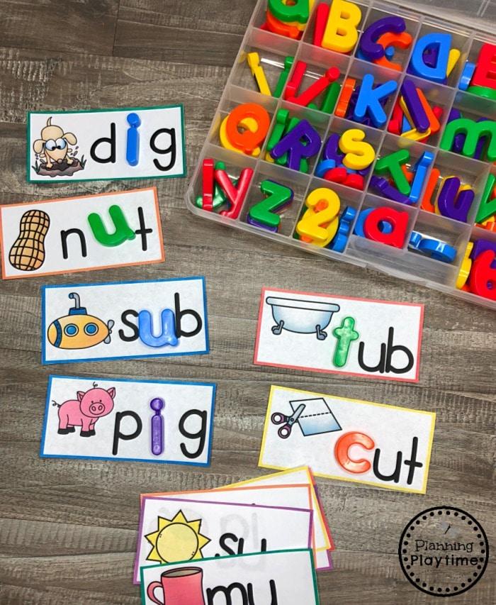 CVC Words Practice Cards - Fill in the blank #cvcwords #planningplaytime #kindergarten