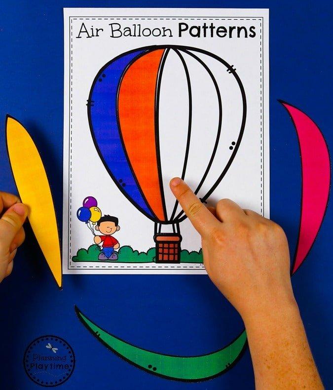 Color Patterns for Preschool - Hot Air Balloons #preschool #transportationunit #planningplaytime