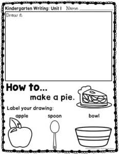 Kindergarten Writing Prompts: How to - Make a Pie