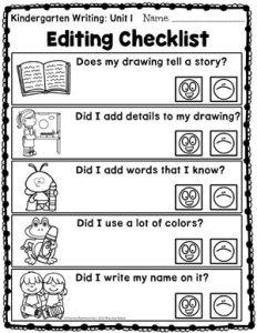 Kindergarten Writing Unit 1 Editing Checklist