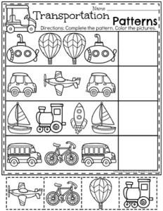 Preschool Patterns Worksheets - Transportation Theme