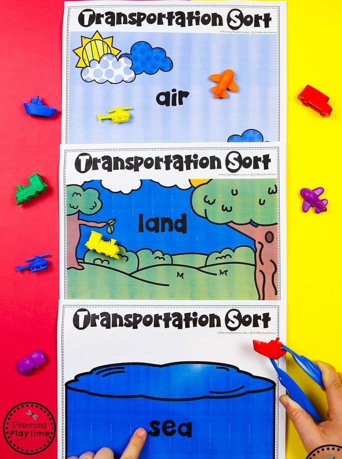 Preschool Sorting Activity - Air, Land or Sea Transportation