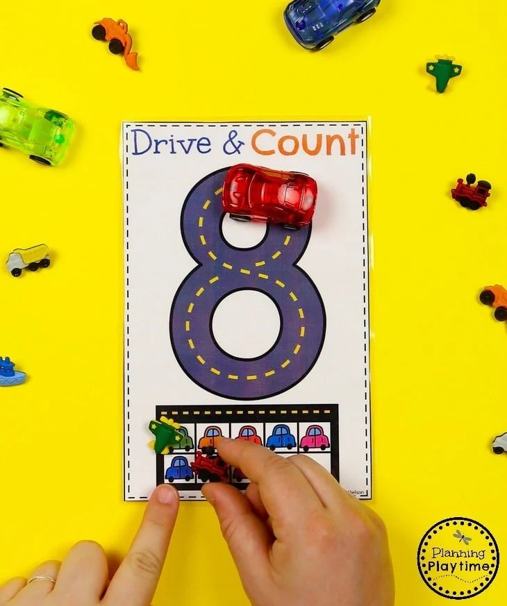 Preschool Transportation Unit - Tracing numbers with Cars and 10 Frame#preschool #transportationunit #planningplaytime