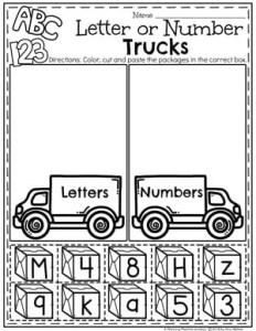 Preschool Transportation Worksheets - Letter or Number Sort #preschool #preschoolworksheets #planningplaytime #lettersort