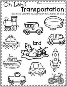 Preschool Transportation Worksheets - On Land #preschool #preschoolworksheets #planningplaytime