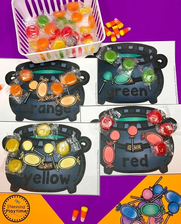 Candy Color Cauldron Sorting - Halloween Games for Preschool