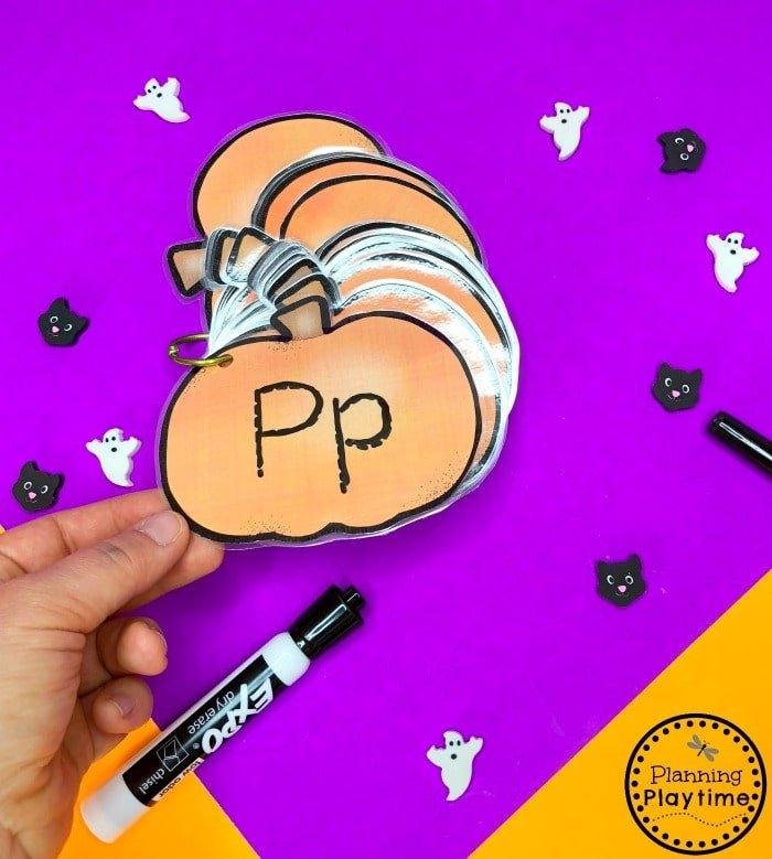 Pumpkin Letter Tracing Worksheets for Preschool #halloweenworksheets #preschoolworksheets #planningplaytime