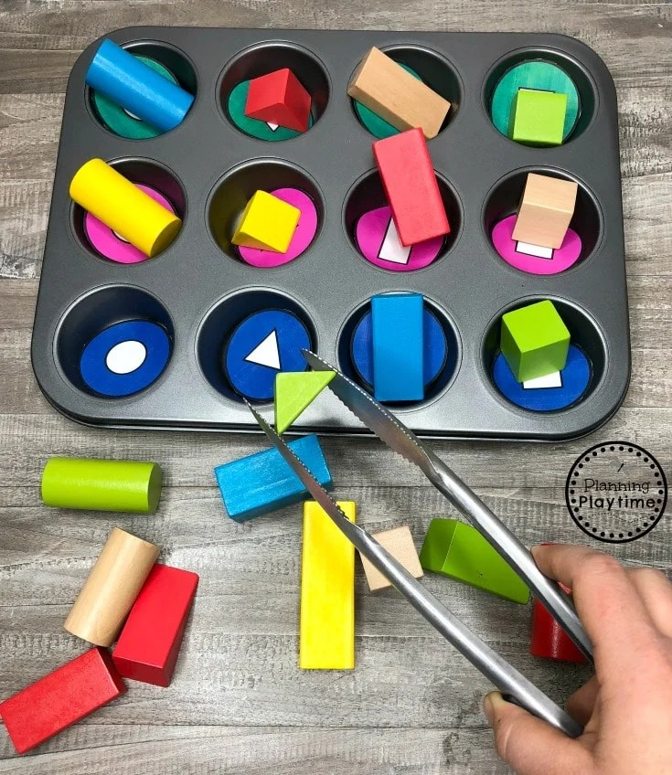 Baking Shapes - Preschool Shapes Sorting and Fine Motor Activity