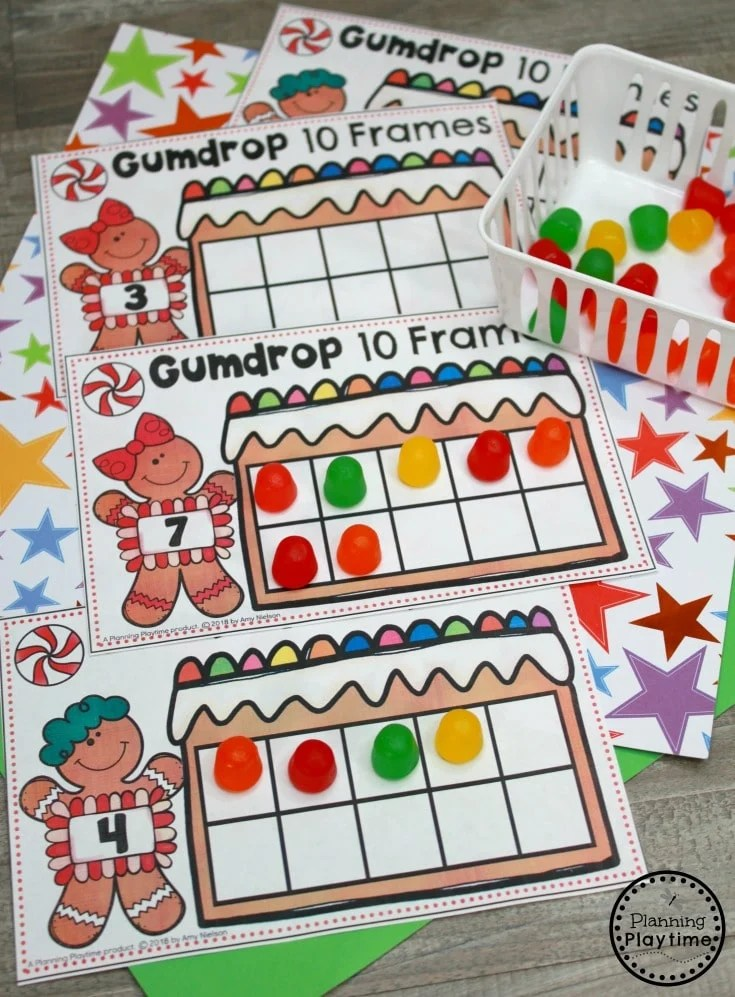 Gingerbread Man Printables for Preschool - 10 Frames Counting #gingerbreadmanprintables #gingerbreadmanworksheets #gingerbreadmantheme #preschool #preschoolworksheets #planningplaytime