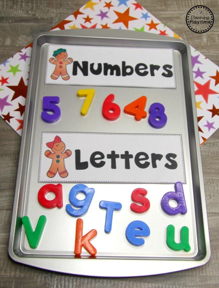Gingerbread Man Printables for Preschool - Letter and Number Sort #gingerbreadmanprintables #gingerbreadmanworksheets #gingerbreadmantheme #preschool #preschoolworksheets #planningplaytime
