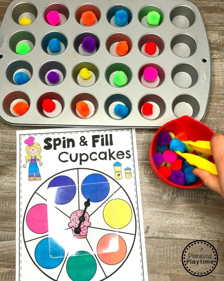 Preschool Colors Game - Spin and Fill Cupcakes
