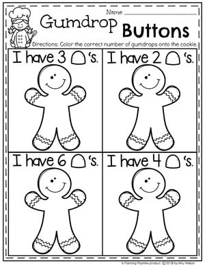 Preschool Counting Worksheets in a fun Gingerbread Theme #gingerbreadmanprintables #gingerbreadmanworksheets #gingerbreadmantheme #preschool #preschoolworksheets #planningplaytime