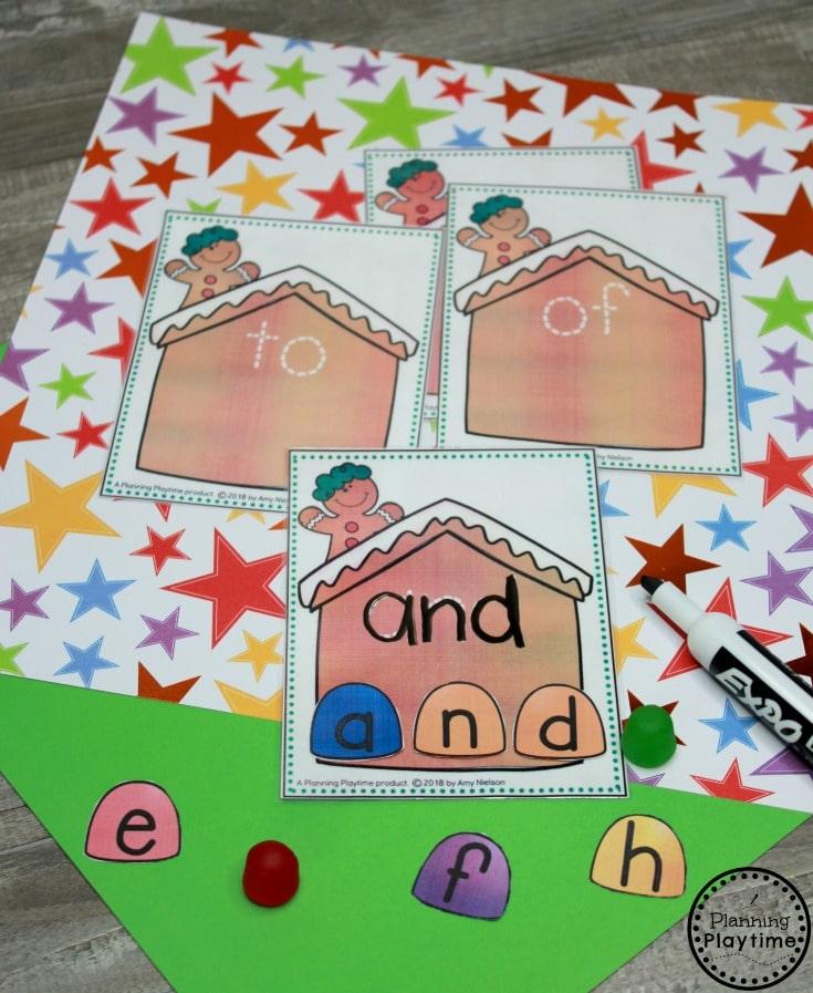 Preschool Gingerbread Man Printables - Sight Words Game #gingerbreadmanprintables #gingerbreadmanworksheets #gingerbreadmantheme #preschool #preschoolworksheets #planningplaytime