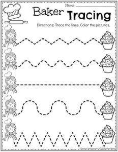 Preschool Tracing Worksheets for a Baking Theme