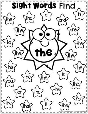 Sight Words Find Worksheet - the #sightwords #sightwordsworksheets #literacyworksheets #kindergartenworksheets #planningplaytime