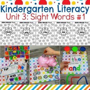 Sight Words for Kindergarten Worksheets and Activities