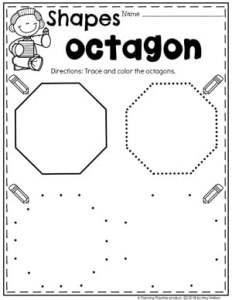 Preschool 2D Shapes Worksheets - Tracing Octagons #preschoolworksheets #2dshapes #shapesworksheets #planningplaytime