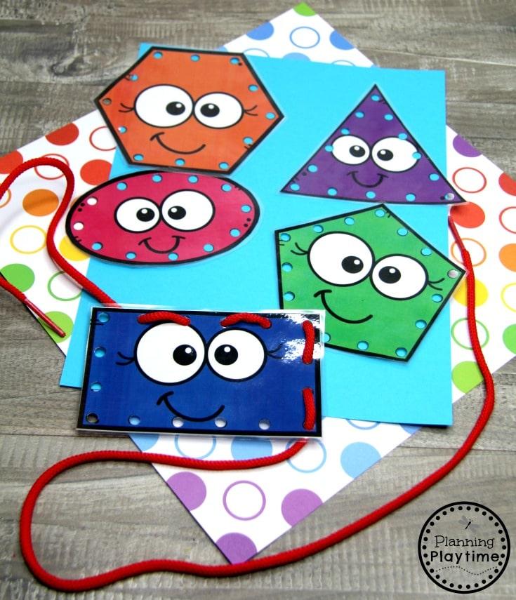 Preschool Shapes Activities - Lacing Shapes Cards #preschoolshapes #2dshapes #shapesworksheets #shapesactivities #planningplaytime