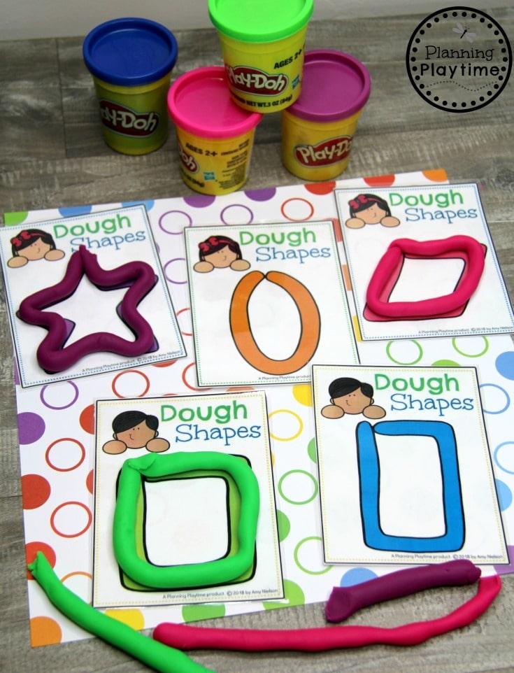 Preschool Shapes Activities - Playdough Shapes #preschoolprintables #2dshapes #2dshapesprintables #planningplaytime