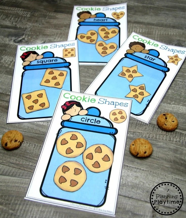 Preschool Shapes Printables - Cookie Shape Sorting #preschoolprintables #2dshapes #2dshapesprintables #planningplaytime