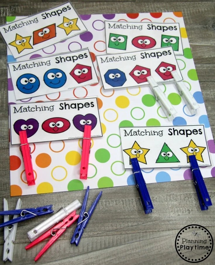 Preschool Shapes Printables - Matching Shape Clip Cards #preschoolprintables #2dshapes #2dshapesprintables #planningplaytime