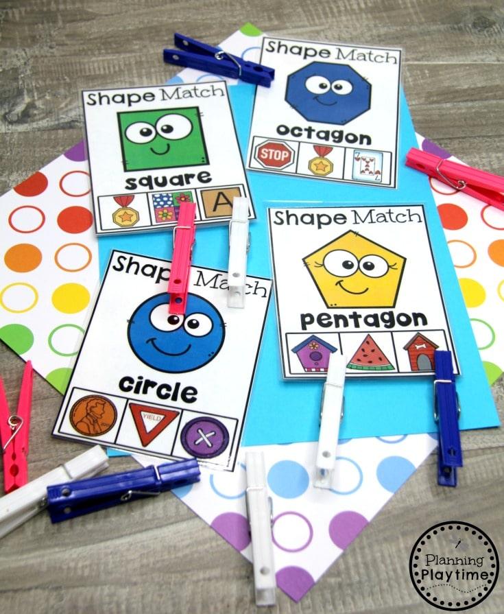Preschool Shapes Printables - Shape Matching Clip Cards #preschoolprintables #2dshapes #2dshapesprintables #planningplaytime