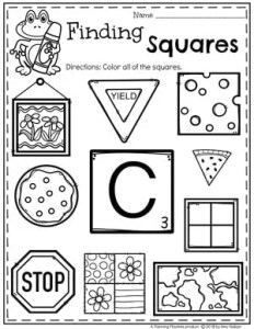 Squares Worksheets for Preschool