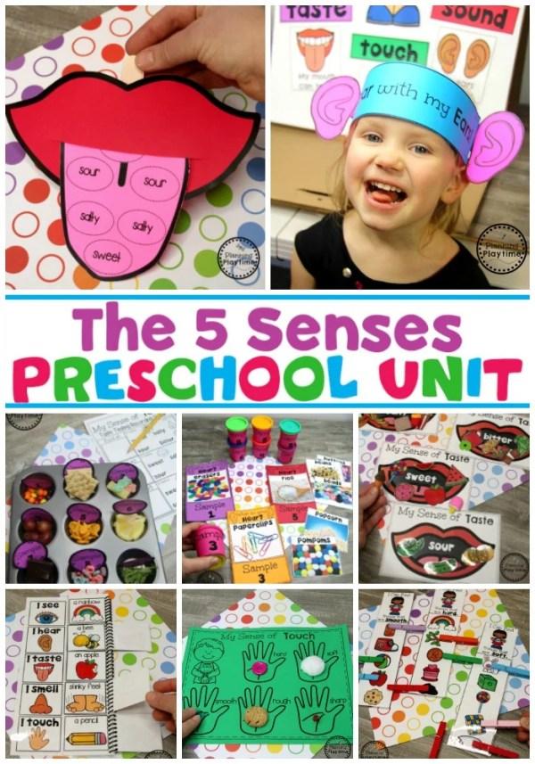 5 Senses Activities for Preschool #5senses #preschoolthemes #preschoolcenters #planningplaytime