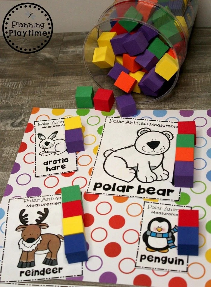 Preschool Measurement Activity - Arctic Animals Theme #arcticanimals #preschoolactivities #planningplaytime #measurementactivities