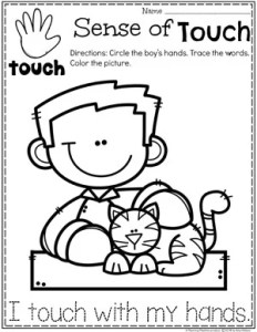Sense of Touch Coloring Page for Preschool #5senses #preschoolworksheets #planningplaytime