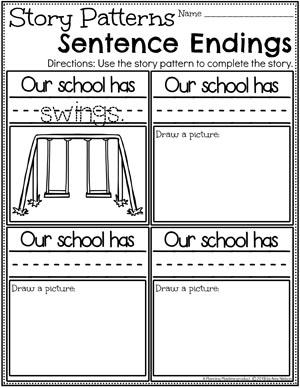 Kindergarten Writing Worksheets - Creating a Pattern Story pg 2 #planningplaytime #kindergartenworksheets #writingworksheets #kindergartenwriting