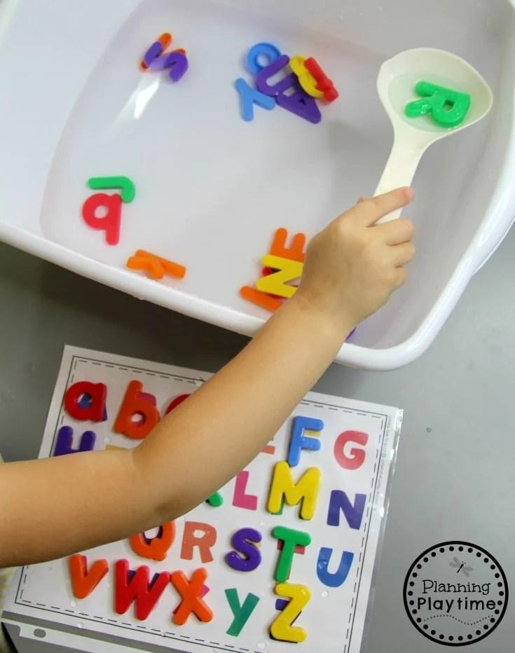 Free Alphabet Printables - Alphabet Soup Letter Activity #freeprintables #preschoolprintables #sensorybin #alphabetactivities #preschoolactivities #planningplaytime