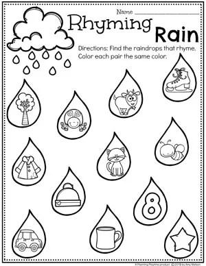 Rhyming Worksheets for Preschool - Rhyming Rain Weather Theme #planningplaytime #weathertheme #preschoolworksheets #rhymingworksheets
