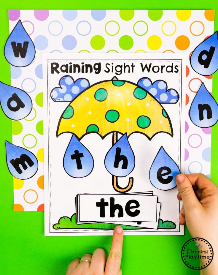 Sight Words Activity - Preschool Weather Activities #planningplaytime #weathertheme #preschoolactivities #preschoolworksheets #springworksheets