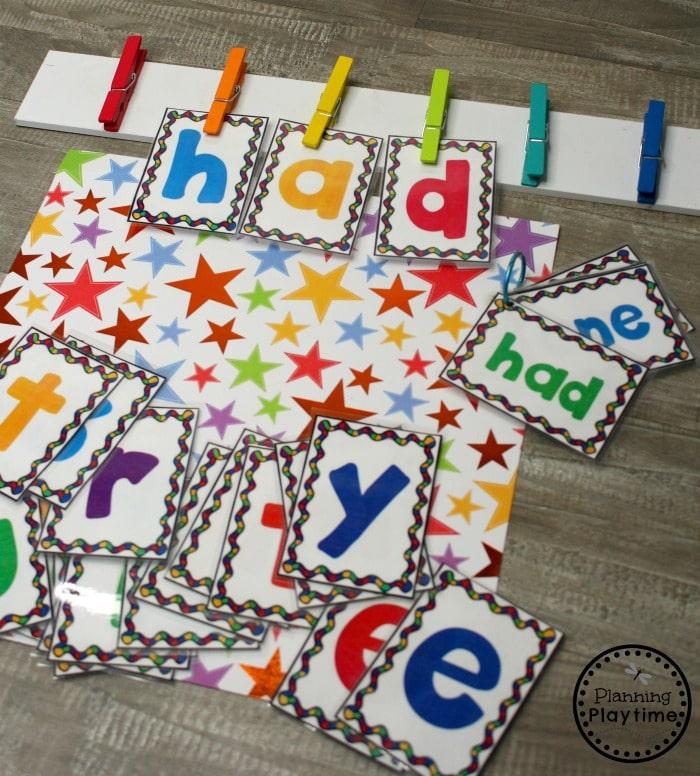 Sight Words Game - Clothesline Sight Words #planningplaytime #sightwords #kindergarten #kindergartenworksheets #literacycenters