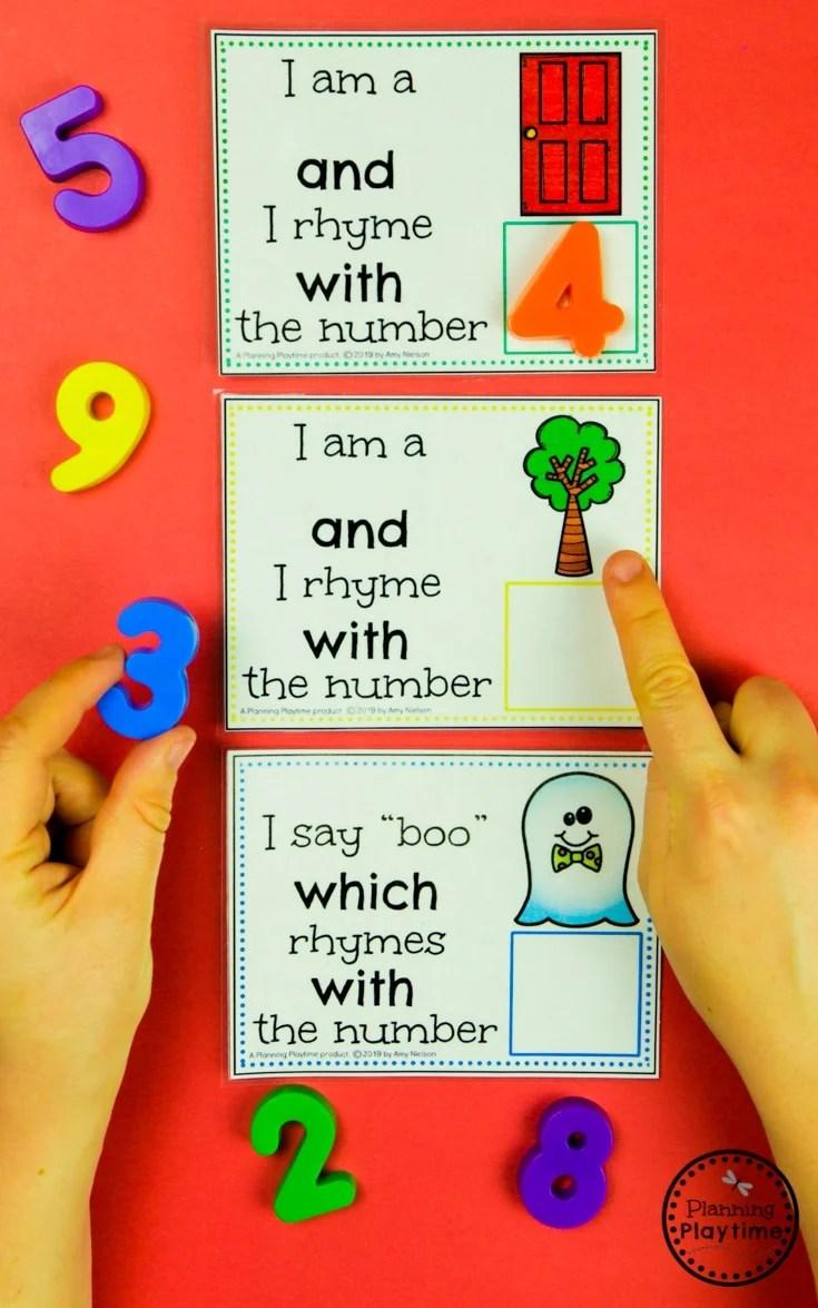 Fun Number Rhyme Cards - Rhyming Words for Kids #numberrhymes #planningplaytime #rhymingwords #kindergartenworksheets #rhymingworksheets #literacyworksheets
