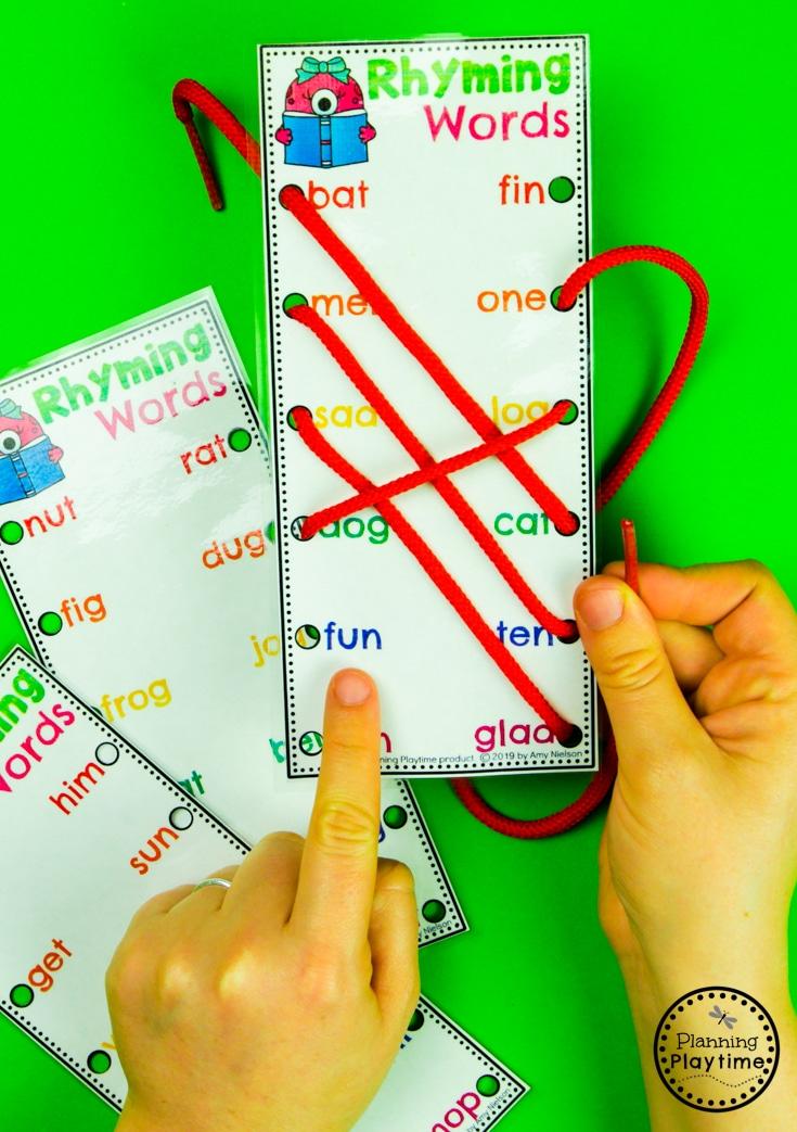 Rhyming Words Activities for Kindergarten - Lacing Rhyming Words #planningplaytime #rhymingwords #kindergartenworksheets #rhymingworksheets #literacyworksheets