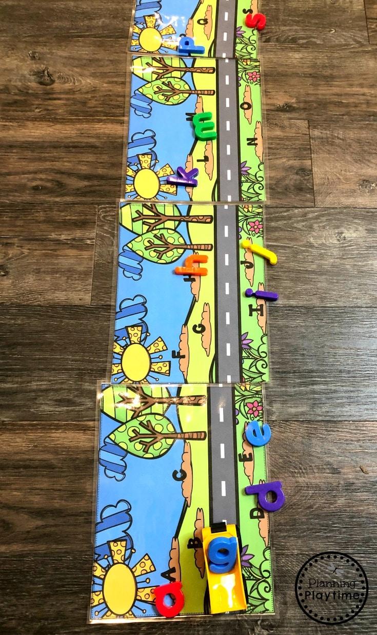 Alphabet Game for Preschool - Haul and Dump Letters #constructiontheme #preschool #preschoolworksheets #planningplaytime