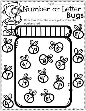 Preschool Alphabet Worksheets - Letter or Number Bugs #springworksheets #preschoolworksheets #planningplaytime