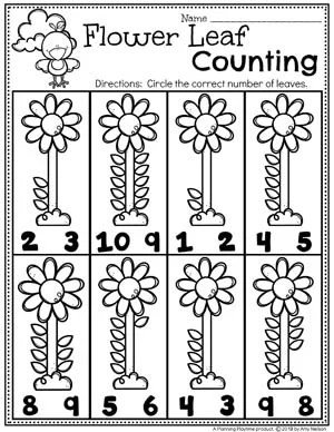 Preschool Counting Worksheets for Spring #springworksheets #preschoolworksheets #planningplaytime #countingworksheets