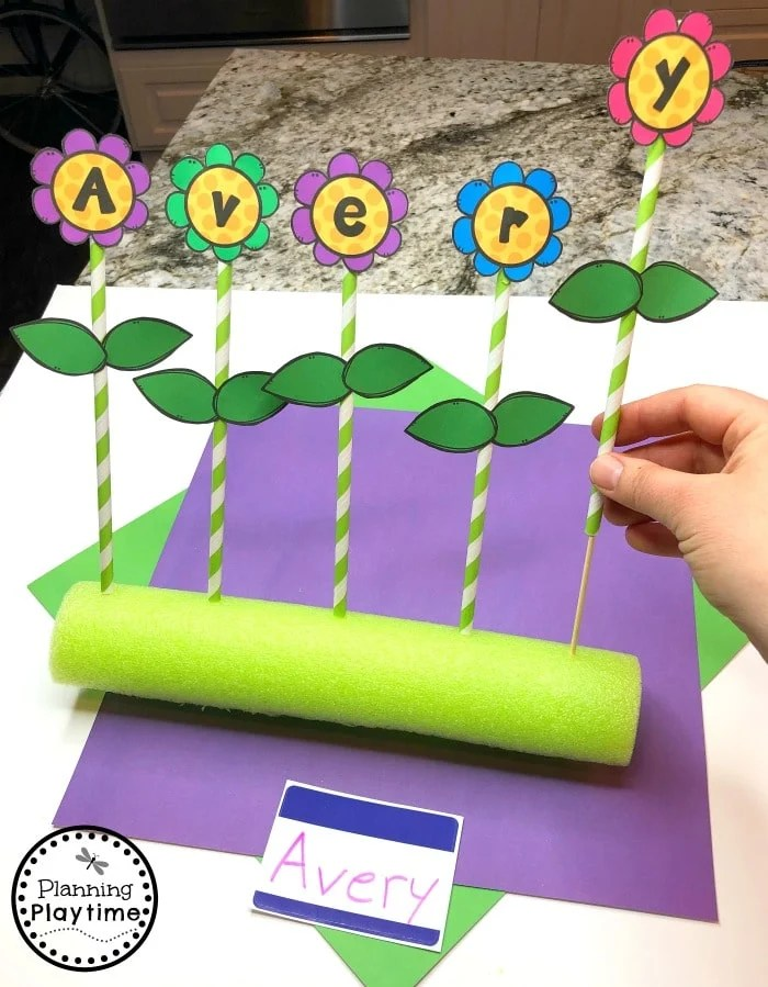 Preschool Name Craft - Pool Noodles and Drinking Straws