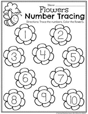 Preschool Number Worksheets - Spring Number Tracing #springworksheets #preschoolworksheets #planningplaytime #numbersworksheets