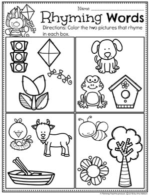 Rhyming Words Worksheets for Preschool #springworksheets #preschoolworksheets #planningplaytime #rhymingwords