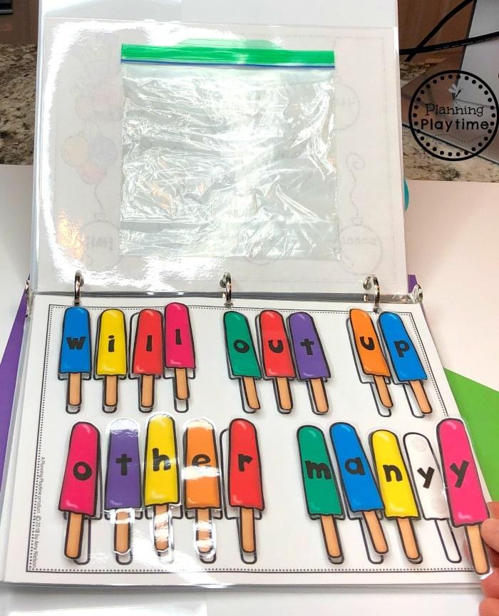 Sight Words Activities Binder for Kindergarten #sightwords #kindergartenworksheets #sightwordsworksheets #planningplaytime