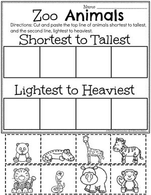 Sort By Size Worksheets - Zoo Animals Theme #zootheme #preschool #preschoolworksheets #planningplaytime